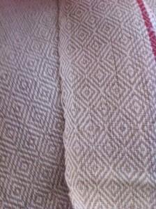 Selvage on a handwoven vintage tea towel